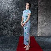 The New Fashion Autumn Auspicious Gown Modified Retro Slim Dress With Printing Flowers Cheongsam.