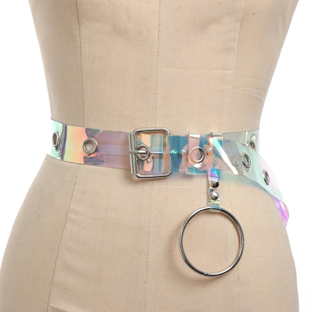 1PC New Transparent Laser Holographic Women   Belt   Punk Clear Color Buckle Wide Waist Circle Waistband Wedding Dress Accessories