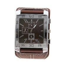Кварцевые часы с квадратным циферблатом новые часы унисекс Модные Аналоговые женские и мужские стильные элегантные часы с белым кожаным ремешком