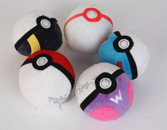 Pokemon pikachu pokeball pokébola de pelúcia macia boneca de brinquedo 5 pcs set presente de natal