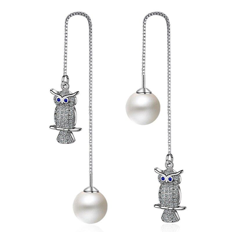 925 Sterling Silver Crystal Owl Drop Earrings for Women Gril Wedding Female Pearl Jewelry Gift Bijoux brincosEH610