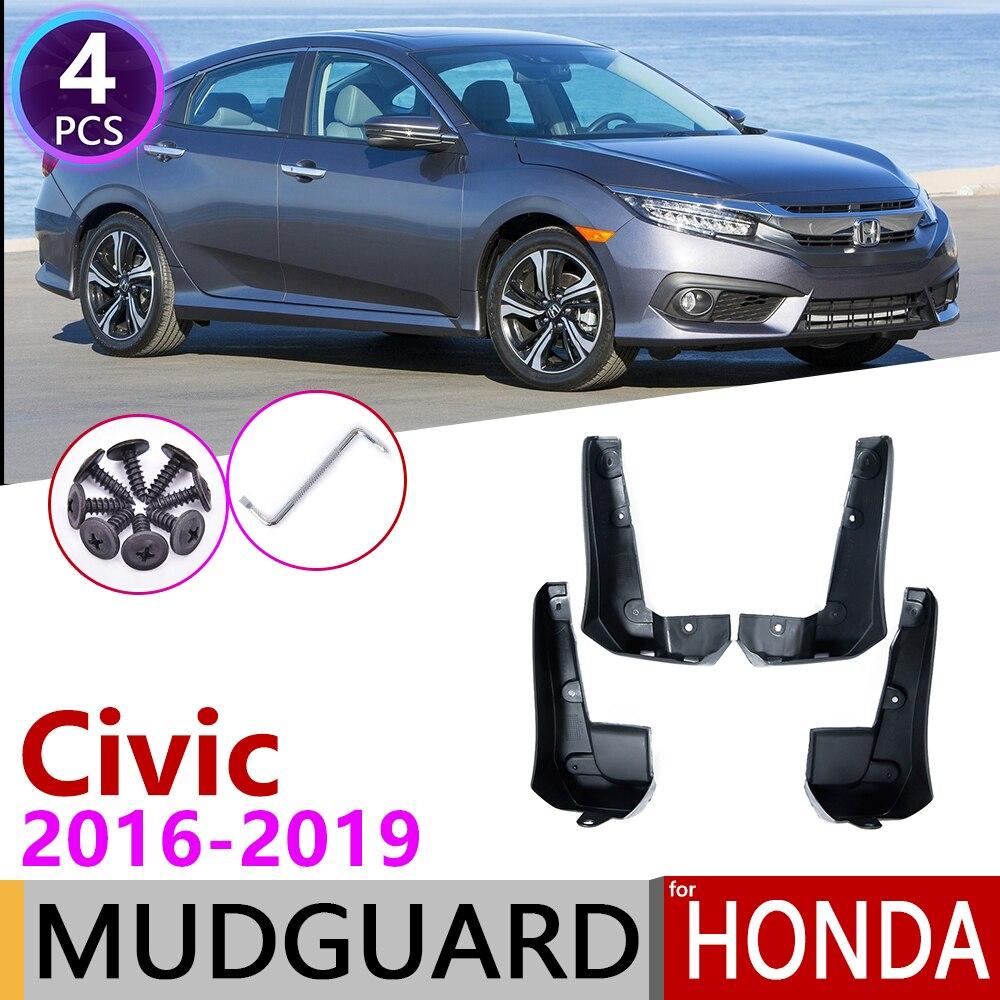 4PCS Fender Mud Flaps Splash Guards For Honda Civic 2016 2017 Sedan Front /& Rear