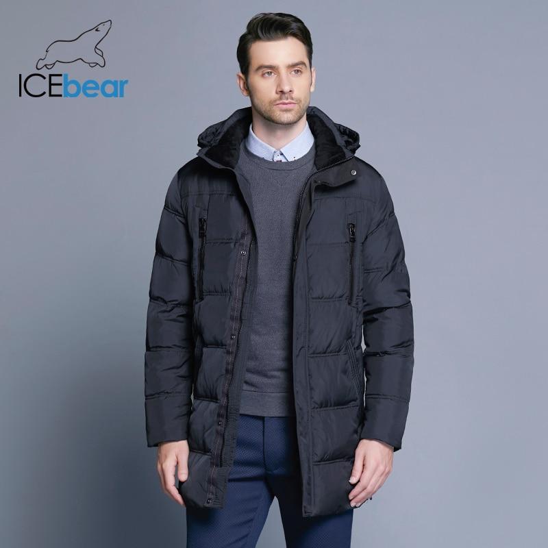 ICEbear 2018 Top Qualité Chaud Hommes de Chaud D'hiver Veste Coupe-Vent Occasionnel Survêtement Épais Moyen Long Manteau Hommes Parka 16M899D