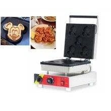 ФОТО 110v 220v cartoon mickey mouse shaped waffle maker commercial non-stick 5pcs electric mickey shape waffle machine eu/au/uk/us