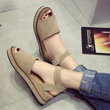 2016 new summer Korean women students wedge thick muffin bottom peep toe sandals platform buckle retro gladiator sandals shoes