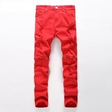 New Fashion Men Ripped Designer Jeans Pants Slim Fit Knee Zipper Jeans Men Club Wear Bright Color Denim Jogger