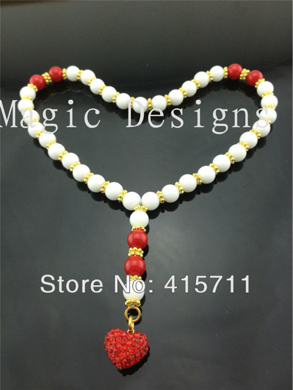 YH-PB30 5pcs/lot Islam Prayer Beads White Jadee Beads Muslim Allah Misbaha Sibha with Rhinestone Heart 33 beads