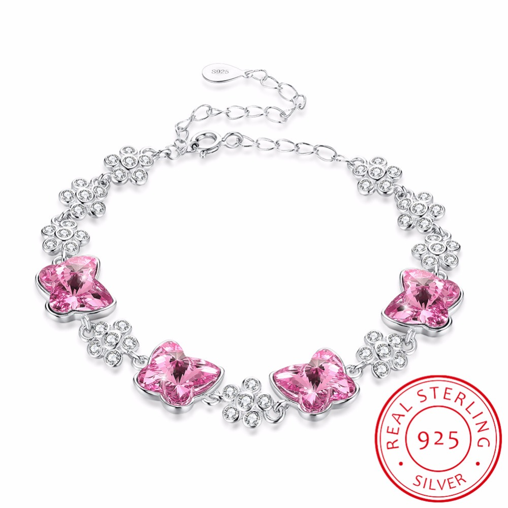 LEKANI Original Crystals From SWAROVSKI Butterfly Charm Bracelet Bangles Beads Accessories For Women 925 Silver Fine JewelryLEKANI Original Crystals From SWAROVSKI Butterfly Charm Bracelet Bangles Beads Accessories For Women 925 Silver Fine Jewelry