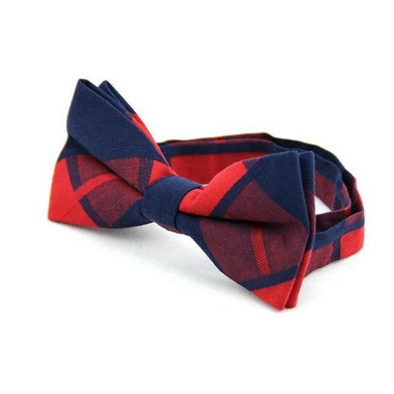 colorful bow tie for man cotton butterfly fashion check bowknot standard size strips grid bowties