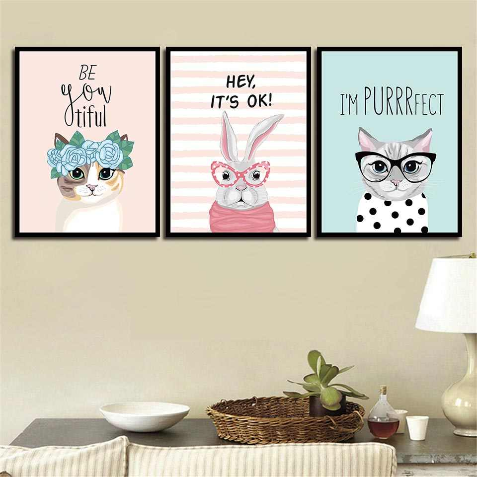 Printing Animal Nordic Style Pictures Decor For Children Room Wall Cartoon Poster Cute Cat Rabbit And Flower Canvas Painting Art
