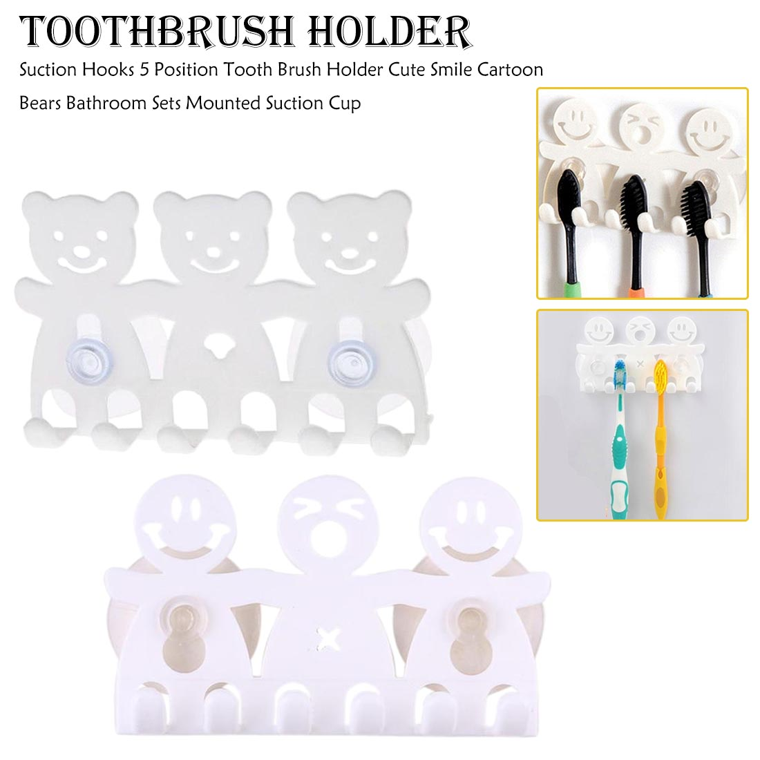 Toothbrush Holder White Travel Stand Toilet Shaver Organizer Kids Tooth Brush Storage Rack Bathroom Accessories Smile