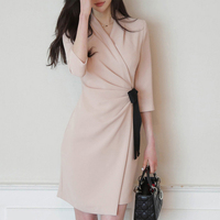 Autumn Elegant V Neck Half Sleeve Sexy Work Dresses Women Empire A Line Office Ladies With