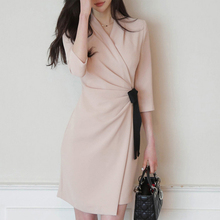 Autumn Elegant V Neck Half Sleeve Sexy Work Dresses Women Empire A-line Office Ladies with Bow Dress Bodycon Vestidos Mujer
