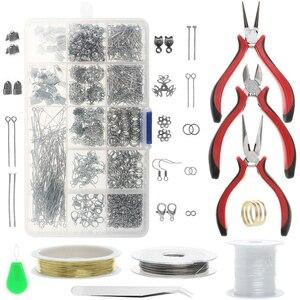 Image 1 - 768Pcs Jewelry Making Kit Accessories Repair Tool Craft Pliers Findings 15 Grid Beading Metal Handmade DIY Head Pins Ear Wire