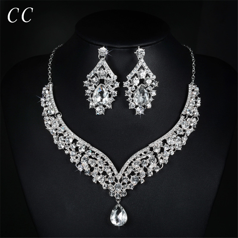 Luxury jewelry white gold color cz wedding necklace and earring