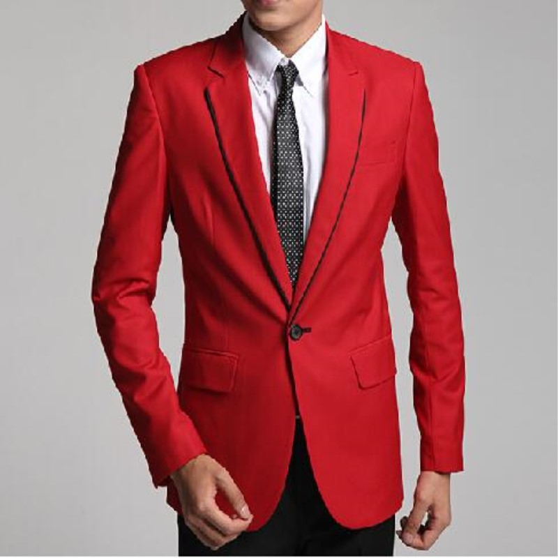 Custom Made Romantic Lapel Red Groom Tuxedos Wedding Party Groomsman Suit Wedding Suits (Jacket + Pants) 183