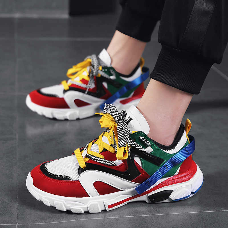2019 New Men Chunky Sneakers Lace-up Flat Casual Shoes With Platform Stylish Mixed Color Breathable Adult Male Tenis Footwear