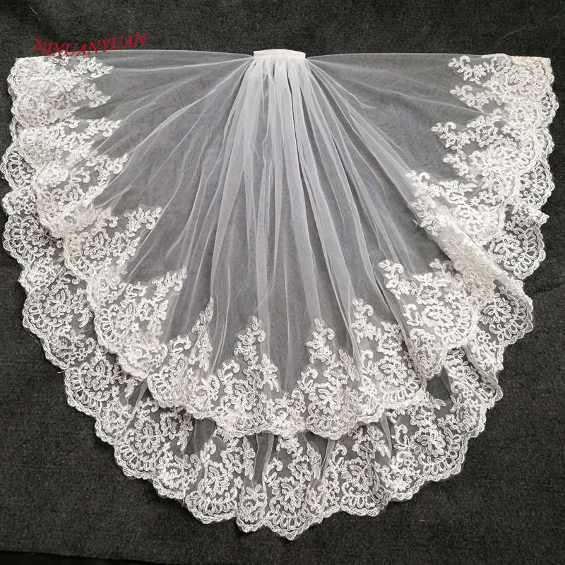 NIXUANYUAN 2019 Hot Sale Two Layer White Ivory Tulle Bridal Veil Lace Edge Cheap Short Wedding Veils Veu De Noiva Longo In Stock