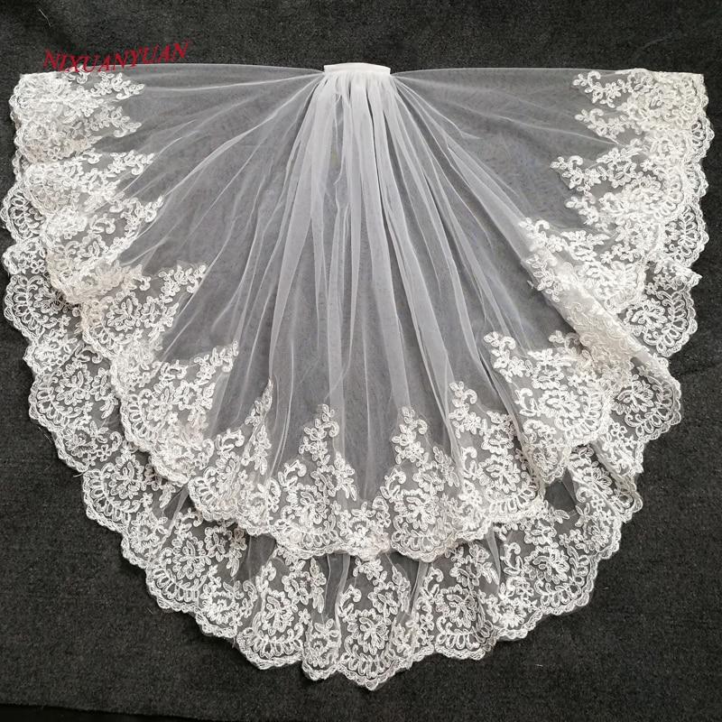 Nixuanyuan 2019 venda quente duas camadas branco marfim tule véu de noiva borda do laço barato curto véus casamento veu de noite longo em estoque