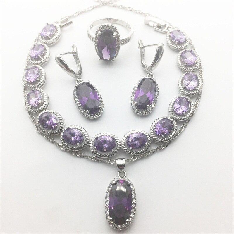 Violet magique pierre blanc Zircon 925 timbre argent couleur bijoux ensembles pour femmes pendentif collier boucles d'oreilles anneaux de mariage