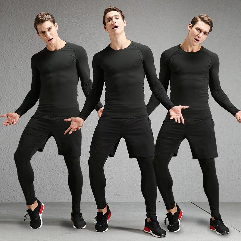 772293237c8de 2019 Venta caliente mallas Fitness trajes para hombres 3 piezas de secado  rápido de deporte para correr ropa de Yoga gimnasio baloncesto entrenamiento  de ...