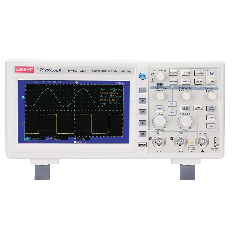UNI T UTD2052CEX Digital Storage Oscilloscope 2CH 50MHZ 1GSa/s 25K Memory Depth Scopemeter USB OTG Interface 7