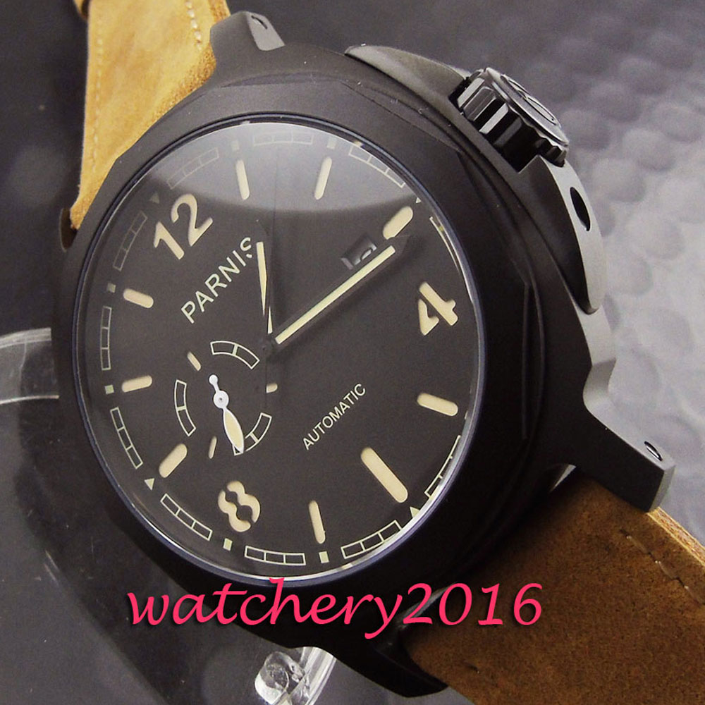 Casual 44mm Parnis black dial PVD case date adjust sapphire glass miyota automatic movement Mens Watch Casual 44mm Parnis black dial PVD case date adjust sapphire glass miyota automatic movement Mens Watch