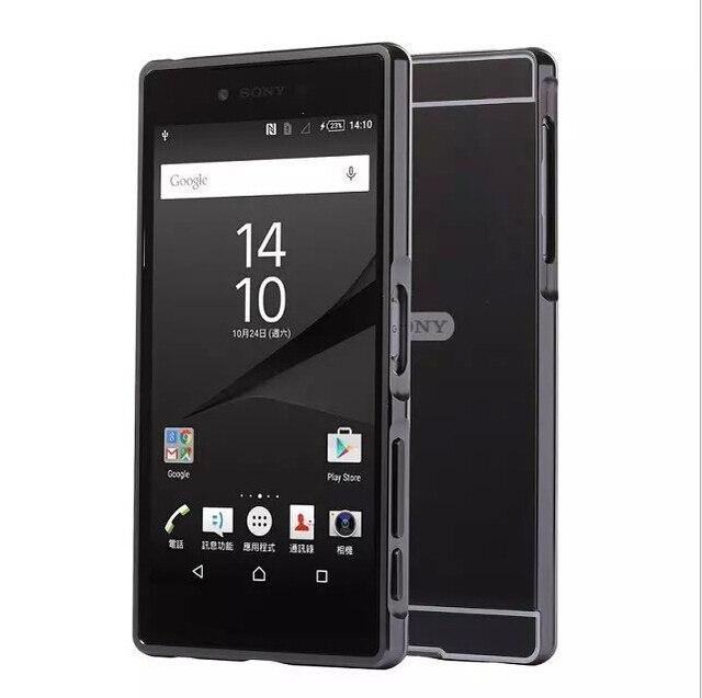 Para Sony Xperia Z3 L55u L55t Z5 Z5 Premium Caso Quadro de Alumínio do Metal + Espelho Rígido PC Tampa Traseira Para sony M4 M5 XA1 XA2 XZ Casos