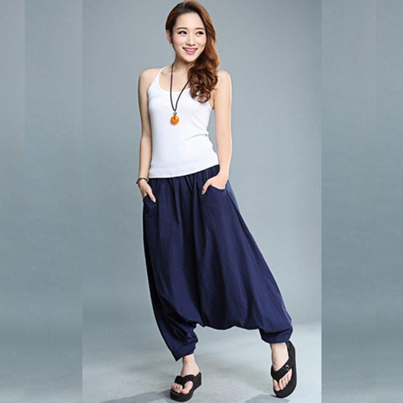 Women's Large Crotch Harem Pants Plus Size 5XL Casual Long Pants Elastic Waist Loose Dancing Trouser 2020 Summer Slim Pleated