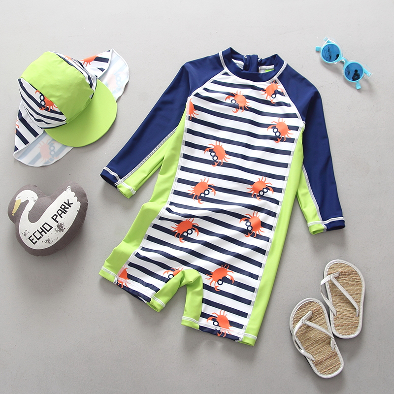 Infant Swimwear Kids One Piece Full Sleeve Swimsuit For Boy Sunscreen UPF 50+ Crab Striped Children Bathing Suits Beach Wear
