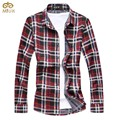 Super Large Size Plaid Cotton Camiseta Masculina 7XL 6XL Brand Clothing 2Color Green Red Camisa Social Masculina 2017 New
