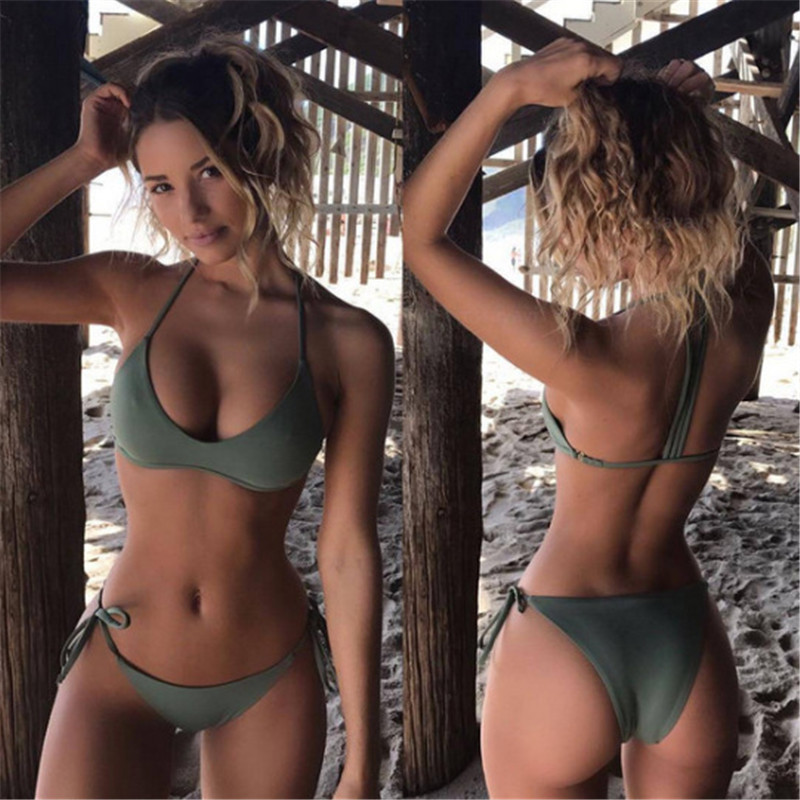 VWIWV 2018 Halter Sexy Bikini Push Up Swimsuit Halter Tank Swimwear Bathing Split Swimsuit Army Green