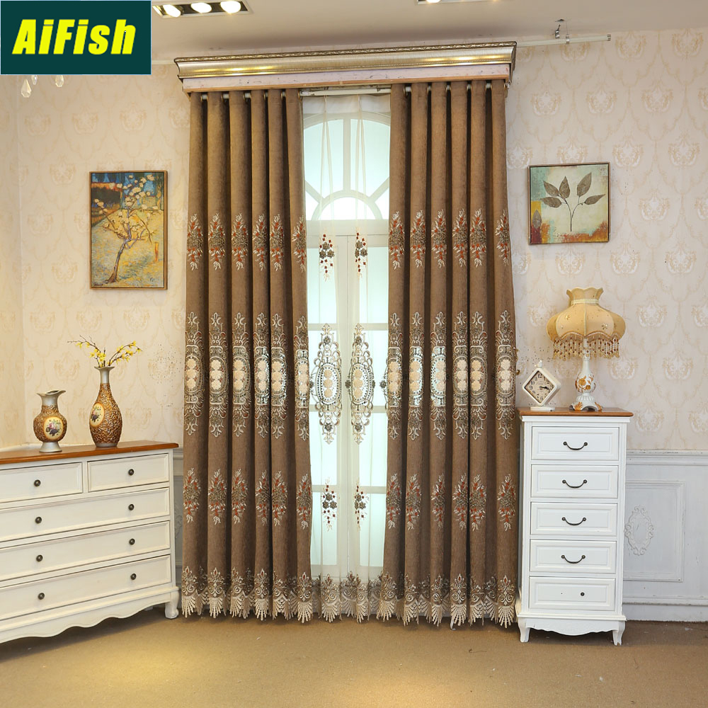 European Style Chenille Blackout Brown Curtains For Living