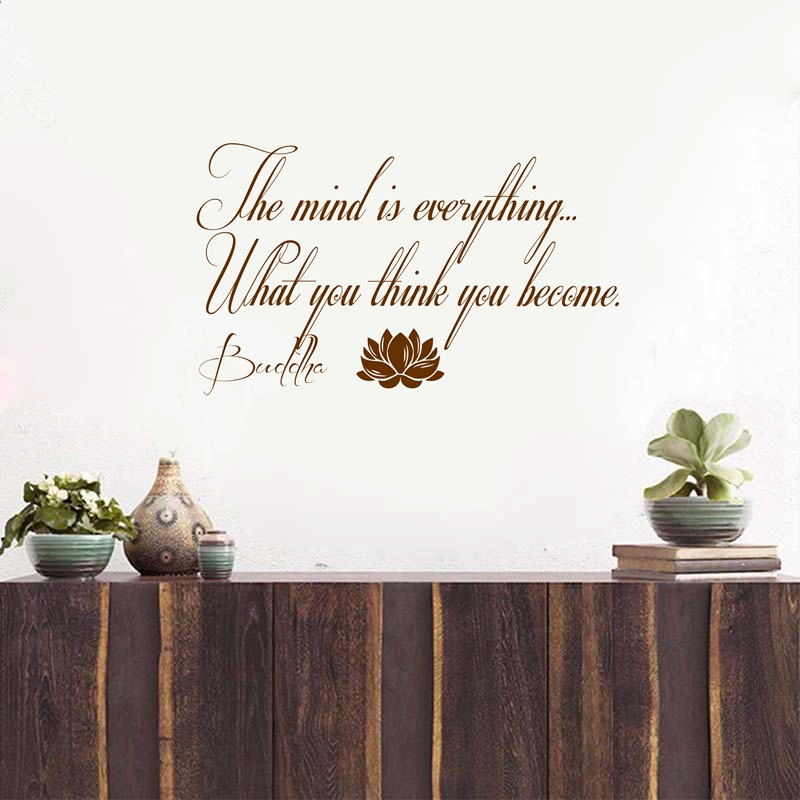 Buddha Quote With Lotus Yoga Wall Decal Sticker The Mind Is Everything Wall Quotes Decals Wall Quotes Stickers From Carmlin $23 76 DHgate