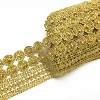 10yards Vintage Gold Metallic Embroidered Motif Lace Nigeria Venice Trim Crochet Cord Wide 11CM - DISCOUNT ITEM  8% OFF All Category