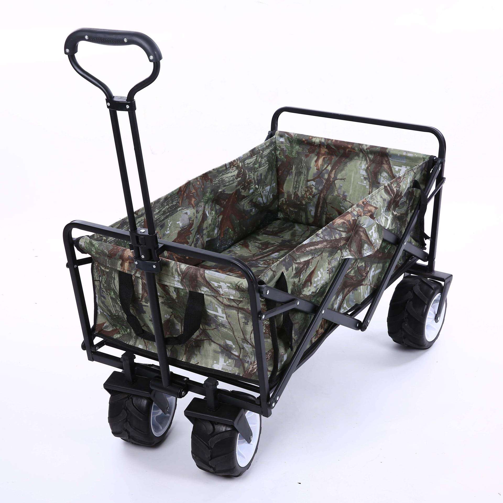 LK677 Acier Inoxydable Camouflage Pet Poussette Pliable et Portable Panier à Quatre roues Chariot pour Camping En Plein Air De Pêche