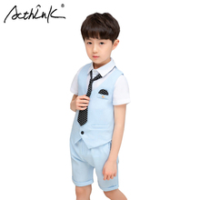 ActhInK New Arrival England Style 3Pcs Kids Summer Suit For Boys Children Party Costume Shirts+Vest+Shorts