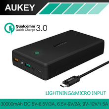 AUKEY 30000mAh Power Bank Quick Charge 3.0 Portable Charger External Battery Dual Output Powerbank for iPhone Xiaomi Huawei