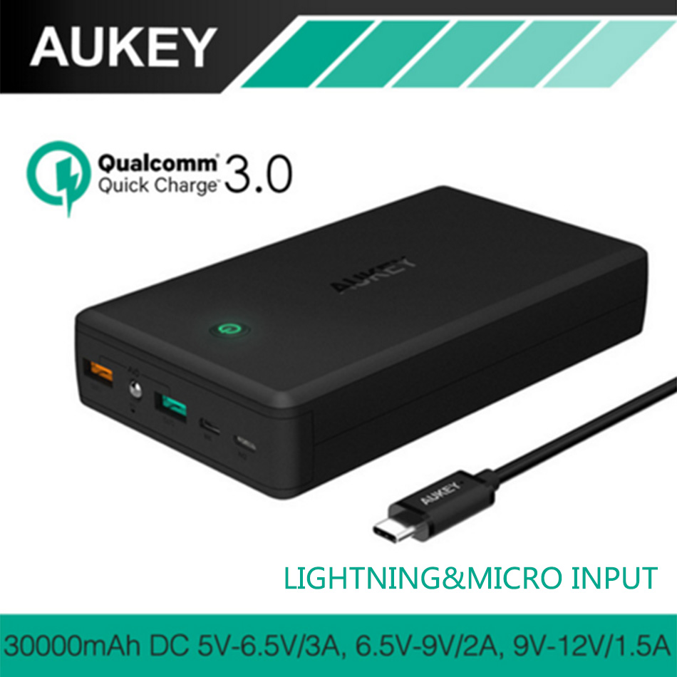 AUKEY 30000mAh Power Bank Portable External Battery Charger With Quick Charge 3 0 Dual Output And