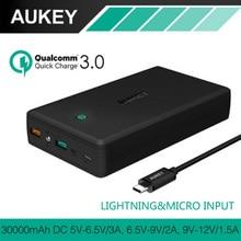 AUKEY Quick Charge Мобильные аккумуляторы 30000 мАч QC3.0 Портативный быстро Зарядное устройство Внешний Батарея Dual USB Мощность банка для IPhone Xiaomi Huawei