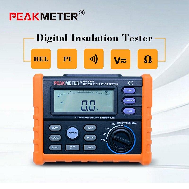 High Precision MS5203 Digital Insulation Resistance Meter Tester Multimeter Megohm Meter 0.01-10G ohm HV meter 50V-1000V output mastech ms5203 high precision megger digital insulation resistance meter tester multimeter 10g 1000v medidor de aterramento