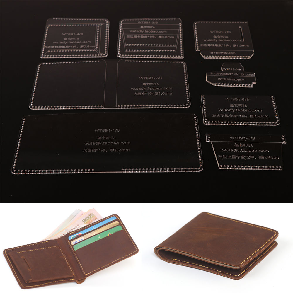 WUTA 891 Acrylic Short Wallet Template Leather Craft Tool Coin Case Pattern DIY Cutting Model for making Men Thin Wallet PurseWUTA 891 Acrylic Short Wallet Template Leather Craft Tool Coin Case Pattern DIY Cutting Model for making Men Thin Wallet Purse