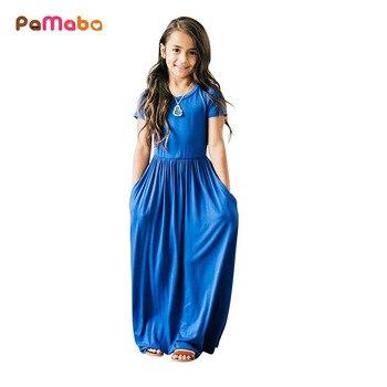 PaMaBa 2-8 Filles Respirant Maxi Robes D'été Slim Coton Robe avec Poche Enfants De Mode Partie Robes Douces Casual filles Vêtements