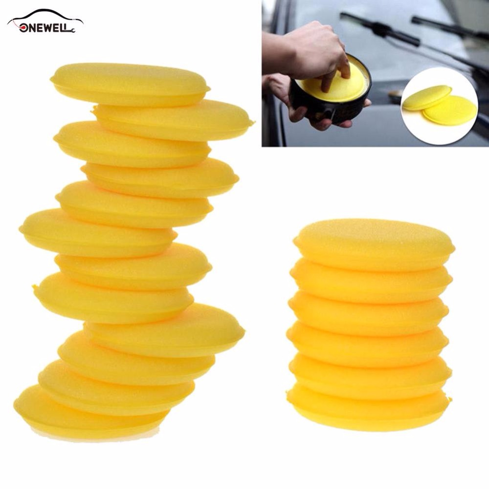 ONEWELL 12pcs Hand Soft Wax Yellow Color Care Wash Clean Car Waxing Polished Round Yellow Sponge for Car