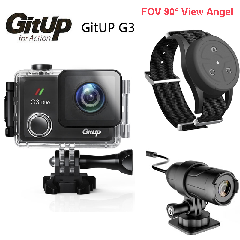 Original Gitup G3 Duo 90 Degree Lens 2.0 Touch LCD Screen Git3 2K 2160P Sport Action Cam GYRO w/Slave Camera & Remote Control gitup gps module slave camera combination for g3 duo camera