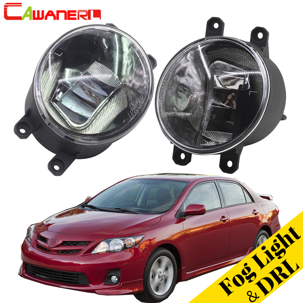 Cawanerl Car Styling LED Lamp Fog Light Daytime Running Light DRL White For Toyota Corolla 2009 2010 2011 2012 2013 2014 2015 akd car styling led fog lamp for bmw e90 drl 2010 2012 320i 325i led daytime running light fog light parking signal accessories page 8