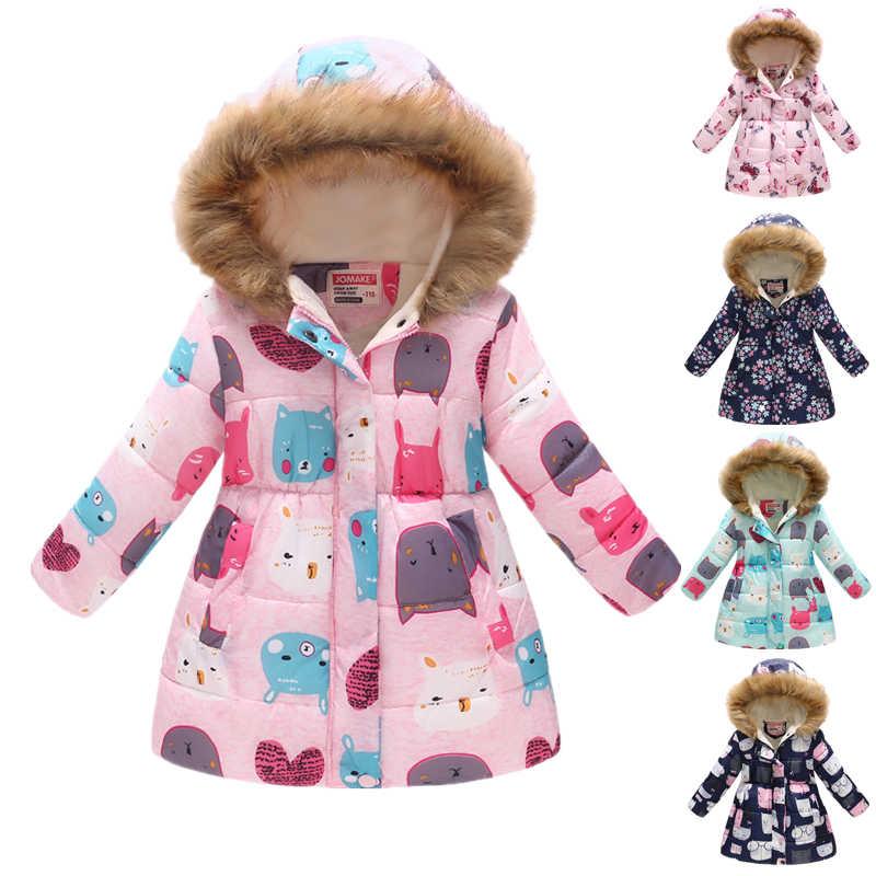 63fb16cc9995 ... Winter Girls Long Cartoon Printing Warm Cotton Jackets Children Big Fur  Collar Snow Coats Kids Outdoor ...