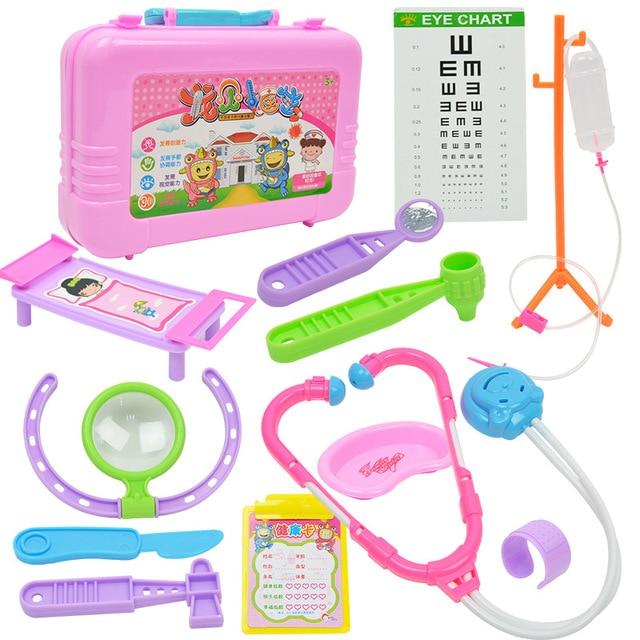 13 Pcs Set New Baby Doctor Sets Pink Plastic Simulation Toys Kids