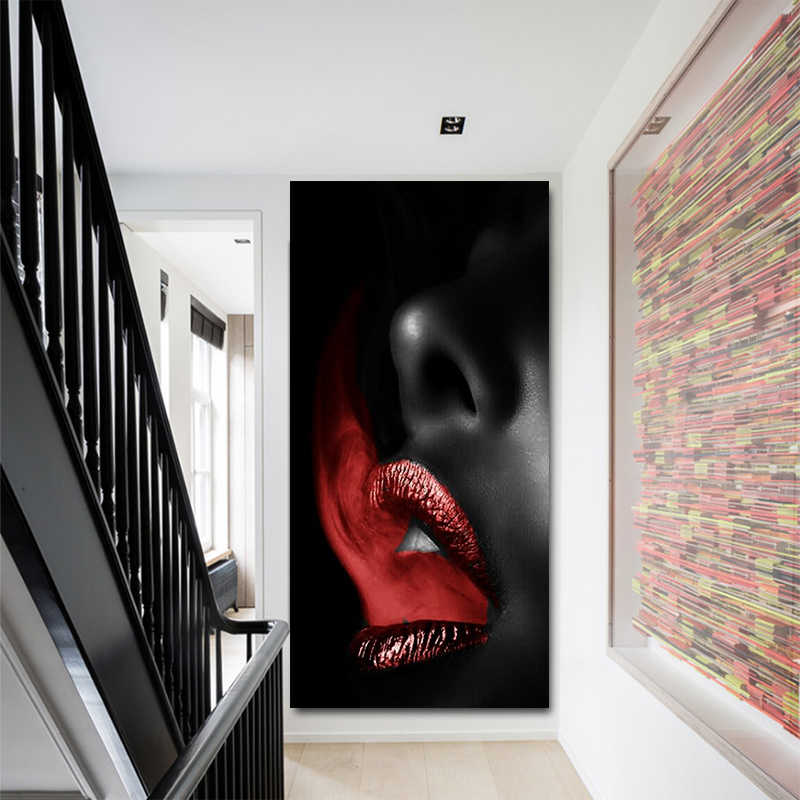 Home Decoration Modular Printed Pictures Wall Art Red Smoke Mouth Sexy Lips Painting Nordic Style Canvas Poster For Living Room