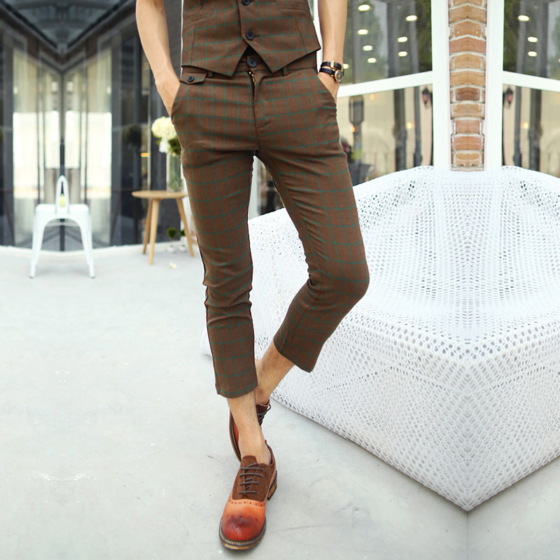 Online Shop Men's Trendy Hipster Korean Fashion Brown Plaid ...